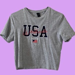 Factorie/ Cotton on grey USA baby tee